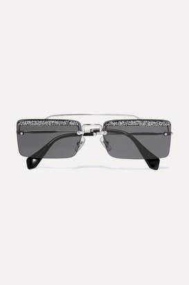 Miu Miu Crystal-embellished Square-frame Silver-tone And Acetate Sunglasses - Dark gray