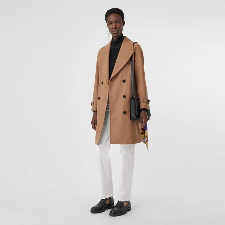 Burberry Herringbone Wool Cashmere Blend Trench Coat