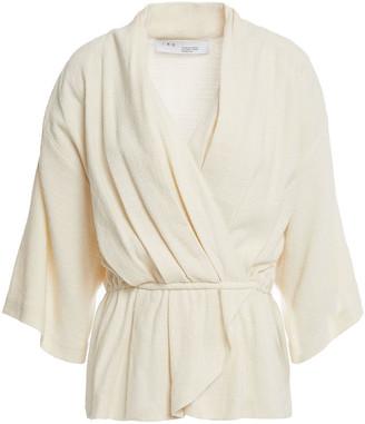 IRO Woolia Wrap-effect Linen And Silk-blend Blouse