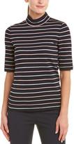 St. John Wool-Blend Striped Pullover Top