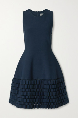 Lela Rose Cutout Stretch-knit Dress - Navy