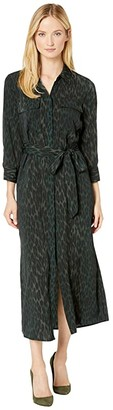 Vince Camuto Animal Phrases Belted Two-Pocket Shirtdress (Dark Willow) Women's Clothing