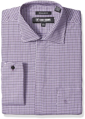 Stacy Adams Men's Textured Houndstooth Classic Fit Dress Shirt