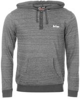 Lee Cooper Mens Hooded Jumper Sweater Pullover Long Sleeve Button Placket Marl