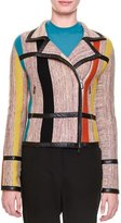 Bottega Veneta Leather-Trimmed Striped-Inset Jacket, Multi Colors