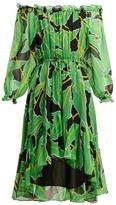 Diane von Furstenberg Camilla Off-the-shoulder Printed Silk Dress - Womens - Black Green