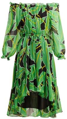 Diane von Furstenberg Camilla Off-the-shoulder Printed Silk Dress - Black Green