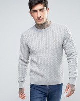 Farah Lewes Crew Sweater Cable Knit Slim Fit in Gray Marl