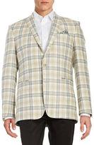 Tallia Orange Plaid Two-Button Linen Jacket