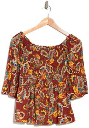 Chenault Paisley Print Gauze Knit Smocked Top