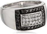 Amazon Collection Men's Sterling Silver Black and Diamond Ring (.95 cttw, H-I Color, I2-I3 Clarity), Size 11