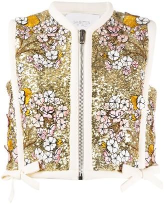 Giambattista Valli Floral Embroidered Bow Waistcoat
