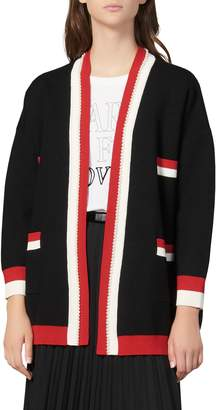 Sandro Dave Imitation Pearl Detail Cardigan Sweater