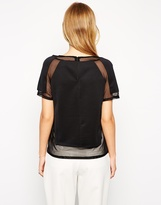Asos Top in Scuba with Mesh Inserts