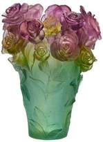 Daum Rose Passion Medium Pink/Green Vase