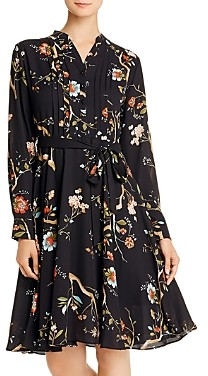 Nanette Lepore nanette Pintucked Floral Print Shirt Dress