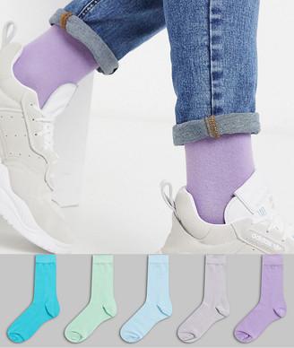 Asos DESIGN 5 pack ankle socks in purple & blue tones