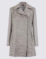 M&S Collection Wool Blend Biker Coat