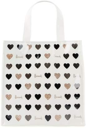 Harrods Small Glitter Hearts Shopper Bag
