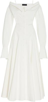 Brandon Maxwell Off-The-Shoulder Cotton Midi Shirt Dress
