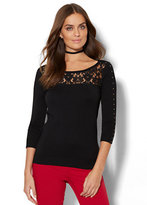 New York & Co. 7th Avenue - Lace-Accent Studded Sweater