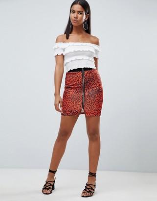 Rare London leopard printed zip printed zip front mini skirt