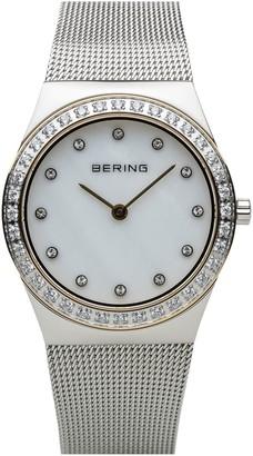 Bering Women's Stainless Crystal Bezel & Mesh Bracelet Watch