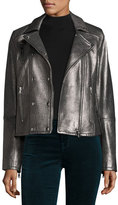 J Brand Valo Leather Moto Jacket, Silver