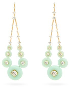 Fernando Jorge Gravity Diamond, Chrysoprase & 18kt Gold Earrings - Light Green