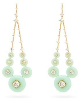 Fernando Jorge Gravity Diamond, Chrysoprase & 18kt Gold Earrings - Womens - Light Green