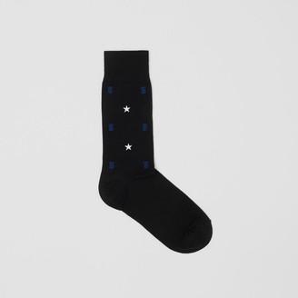 Burberry Star and Monogram Motif Cotton Bend Socks