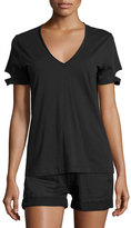 Helmut Lang Slit-Cuff Cotton Jersey V-Neck Tee, Black