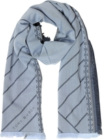 Tory Burch Diagonal Stripes and Signature Double T Logo Fringed Scarf