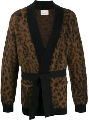 Laneus leopard-print belted cardigan