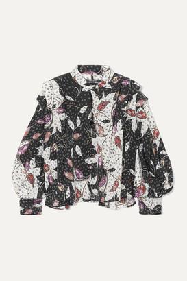 Isabel Marant Ricky Ruffled Printed Silk-blend Crepe De Chine Blouse - Black