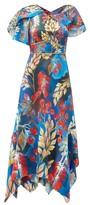 Peter Pilotto Cape-sleeve Floral-print Silk Midi Dress - Womens - Blue Multi