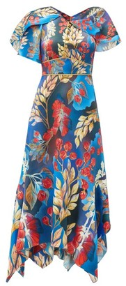 Peter Pilotto Cape-sleeve Floral-print Silk Midi Dress - Womens - Blue Multi