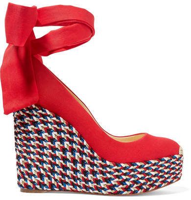 Christian Louboutin Barbaria Zeppa 120 Canvas Wedge Espadrilles - Red