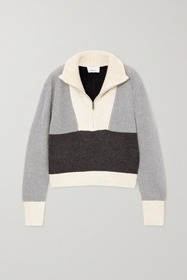 3.1 Phillip Lim Cropped Color-block Lurex And Ribbed Chenille Sweater - Gray