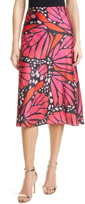 Milly Fion Graphic Butterfly Bias Cut Satin Skirt
