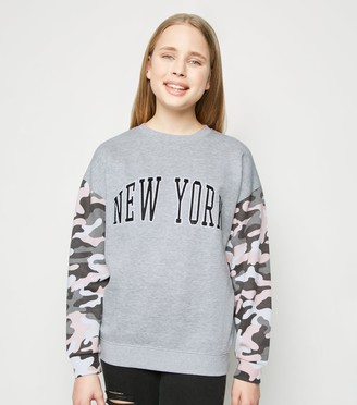 New Look Girls Light Camo Slogan Sweatshirt
