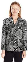 Notations Women's Plus Size Long Sleeve Printed Mandarin Collar Hi Low Blouse