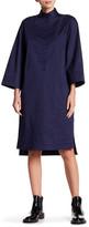 DKNY 3/4 Length Sleeve Mandarin Collar Shirtdress