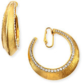 Jose & Maria Barrera Gold-Plated Clip-On Hoop Earrings with Crystals