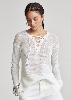 Ralph Lauren Lace-Up Linen Knit Top