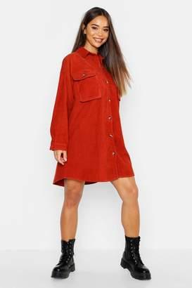 boohoo Super Oversized Cord Shirt Dress