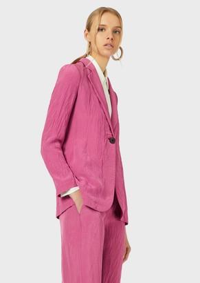 Emporio Armani Single-Breasted Jacket In Crinkle Viscose