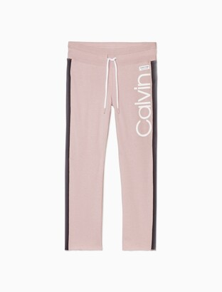 Calvin Klein Performance Logo High Waist Side Stripe Ankle Sweatpants