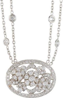 Penny Preville 18k White Gold Medium Diamond Pave Oval Flower Pendant Necklace