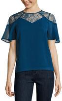 BELLE + SKY Short Sleeve Lace Yoke Flutter Top